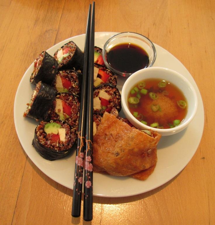 Vegan quinoa sushi at Flax.