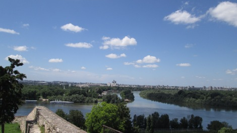 The Danube and Sava rivers, from the top of the Belgrade fortress.