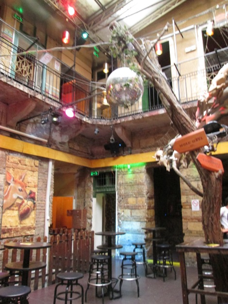 Inside a ruin pub in Budapest.