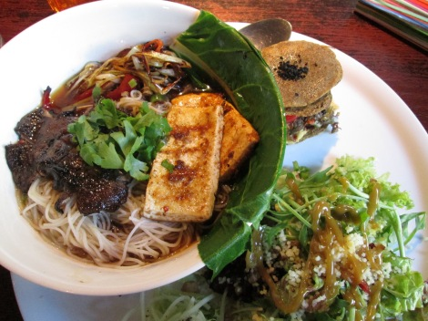 Lovely meal from Radost: ramen soup, shitake mushroom burgers and salad. All vegan and gluten-free.