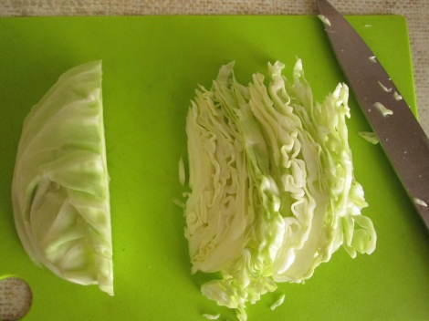 Slice the cabbage thinly before sautéing.