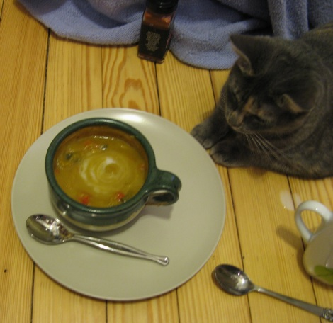 Lulu graciously offering to be a taste tester of soup.