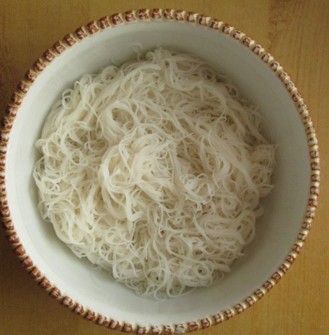 Bowl of rice noodles.