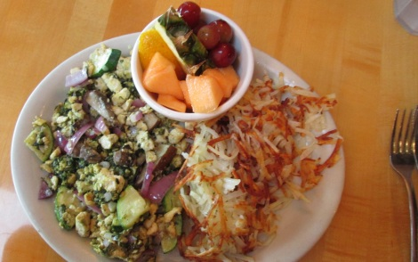 The Queen Anne's Revenge breakfast scramble, with tofu.