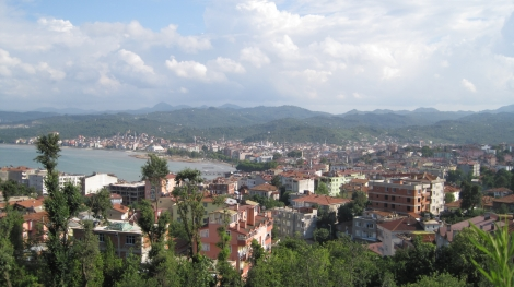 The view from Çakırtepe, a restaurant overlooking the Black Sea, Ünye, Turkey.