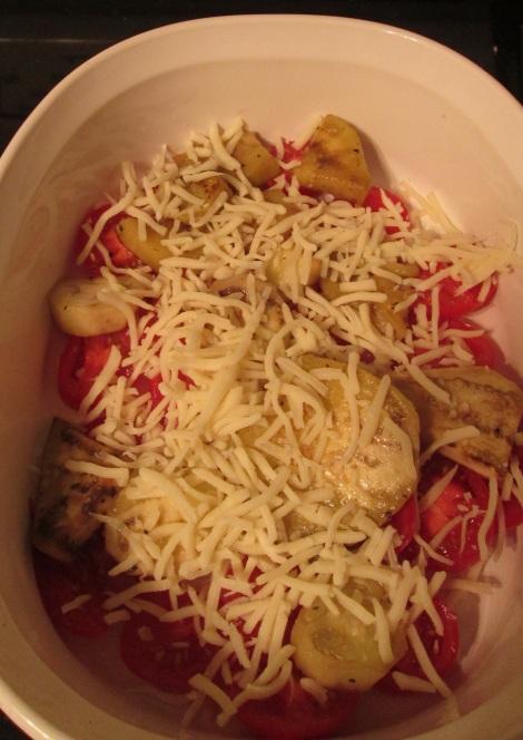 Tomatoes, eggplant, cheese.