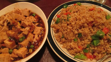 Spicy tofu and fried rice, Affinity Gardens.