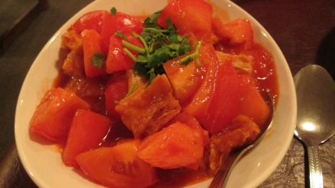 Tofu and tomatoes, Affinity Gardens.