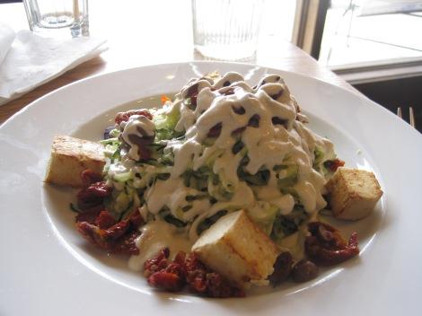 Zucchini noodles, raw vegan alfredo sauce and tofu, Body in Santa Fe.