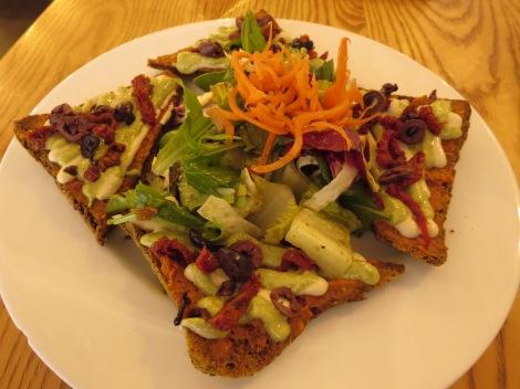 Raw pizza from Body in Santa Fe.