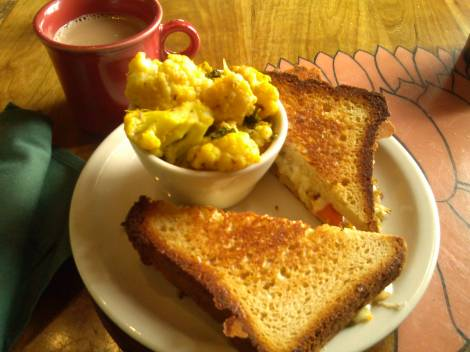 Cauliflower, chai tea and grilled cheese from Annapurna's.