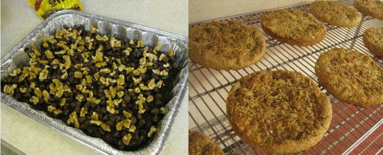 On the left: gluten-free, chocolate pudding cake; on the right, focaccia made at a gluten-free baking class.