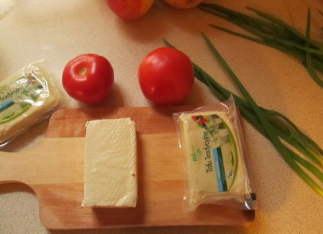 Tofu, tomatoes and green onions.