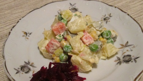 The finished product, served with beetroot and horseradish.