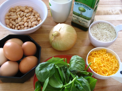 Ingredients for rici bici, or strata.