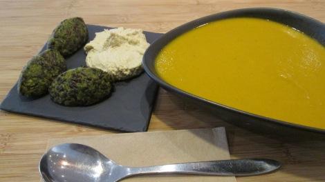 Falafel, hummus and carrot soup at Botaniq.