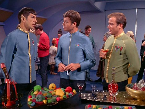 Kirk, Spock and McCoy in TOS episode Journey to Babel. Image via StarTrek.com