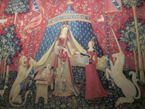 One of the six tapestries from the Lady and the Unicorn at the Cluny Museum.