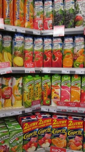 Juice in cartons, Polish corner store.