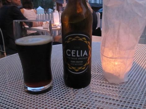 Celia's beer, an excellent gluten-free dark beer.