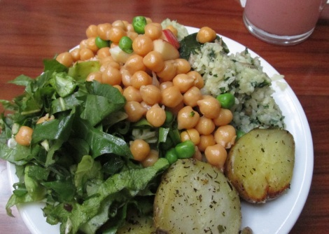 Lunch from Chimera: salad, garbanzo beans, risotto and potatoes.