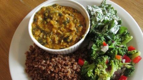 Curry, buckwheat and salad at Glonojad Vegetarian Bar.
