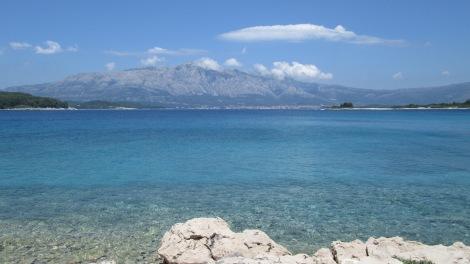View from the island of Korčula, near Split, in Croatia.