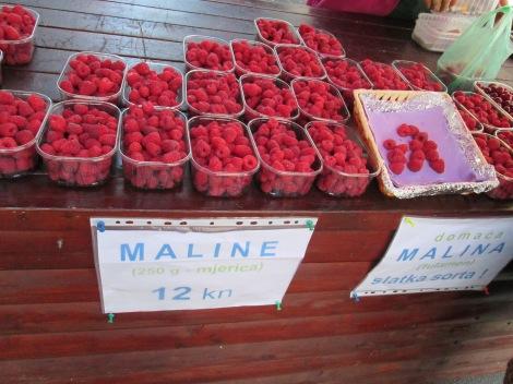 Fresh raspberries for sale, Zagreb, Croatia.