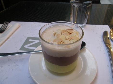 Life is short. Eat dessert first. (Vegan layered pudding, Zrno Bistro.)