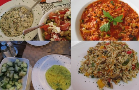 From left hand corner: mushroom risotto and Greek salad; tomato and zucchini risotto; bell pepper and mushroom risotto, Split; zucchini risotto and cucumber salad, Korčula.
