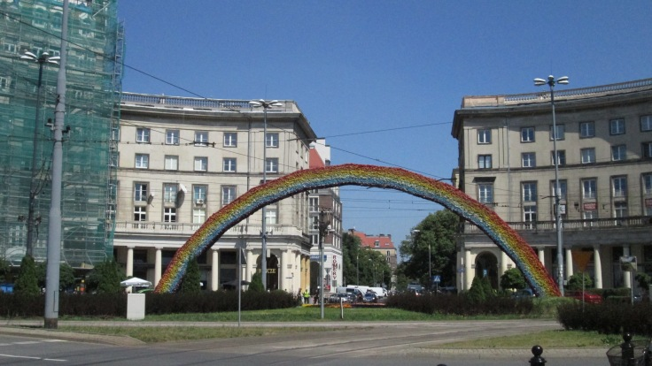 Gay pride rainbow in Warsaw: sign of changing cultural attitudes in this Catholic country.