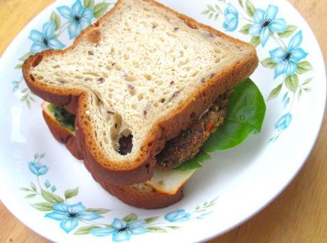Gluten-free veggie burger on Udi's bread.