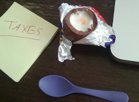 The best way to do taxes: with a Cadbury creme egg.