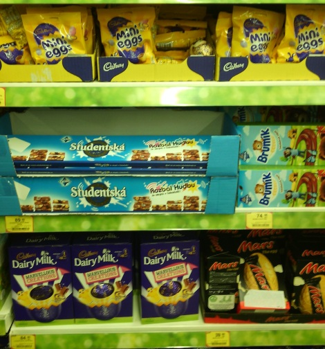 A Tesco in Czech Republic, with Cadbury products. (But not the creme eggs!)