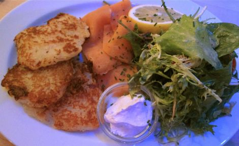 Smoked yam/salmon and potato pancakes at Max Pett's.