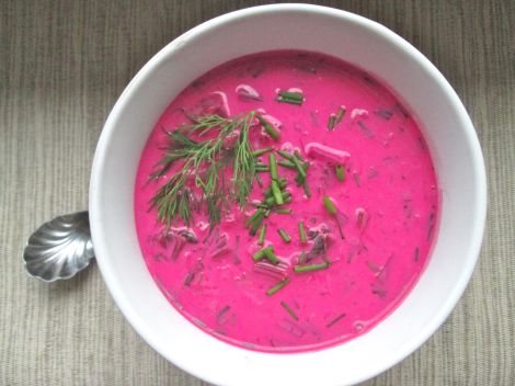 Chilled beet soup.