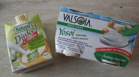 Soy yogurt and cream, purchased in Poland.
