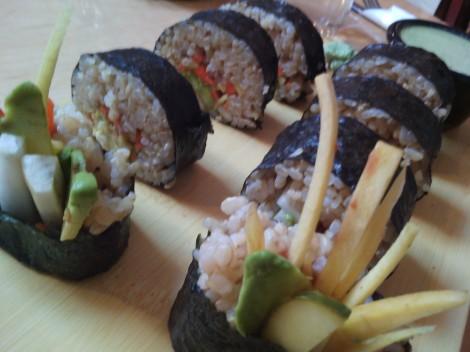 Vegan sushi at Om Cafe in Ferndale.