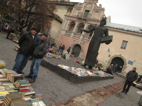 Used books being sold near the main square.