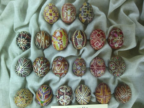 Traditional pysanki, Ukrainian Easter eggs, museum of culture, off of the main square, Lviv.