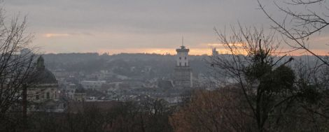Skyline, from high castle hill in Lviv.
