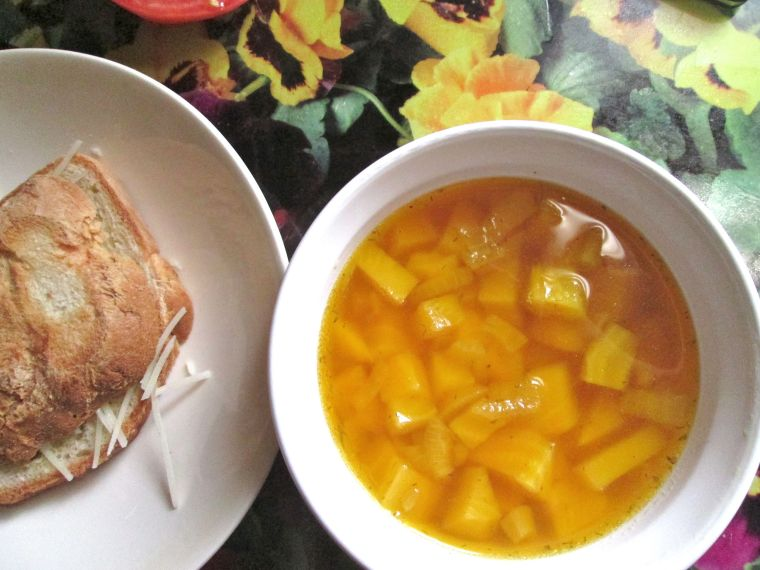 Golden beet soup with Rumi's gluten-free challah bread.