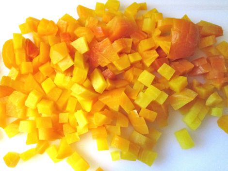 Diced golden beets.