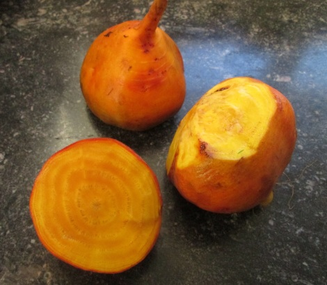 Raw golden beets, before going in the oven.
